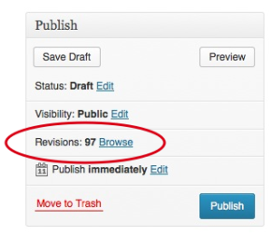 Getting to the revisions screen is easier than ever with a new link in the Publish meta box.